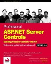 book cover of Professional ASP.NET Server Controls: Building Custom Controls with C# by MAtt Butler