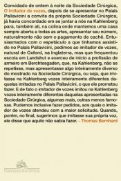 book cover of Imitador de Vozes, O by Thomas Bernhard